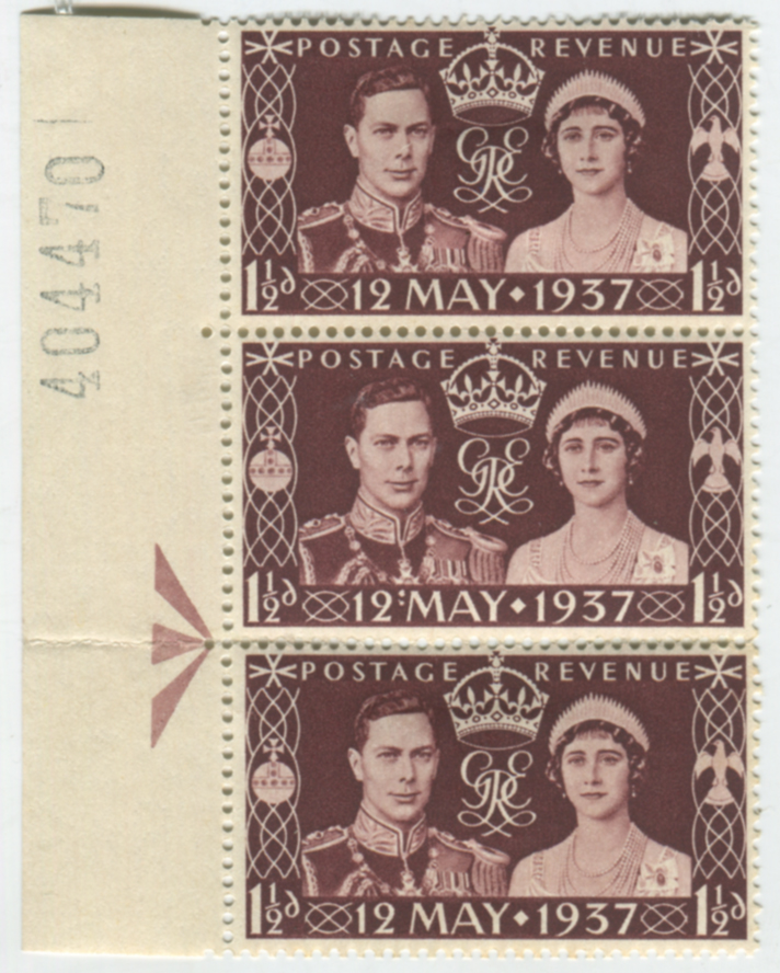 1937 Coronation strip of three with 'colon' flaw
