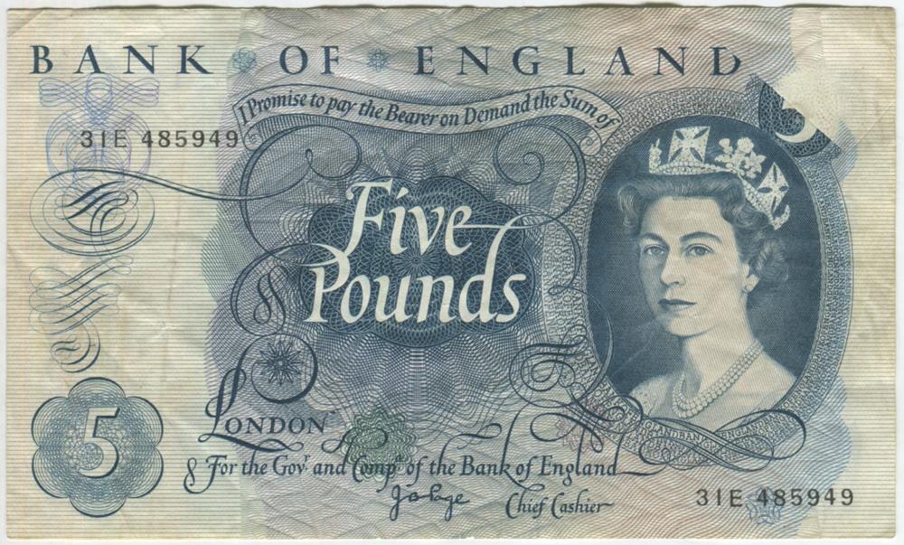 1971 Page £5 blue ERROR NOTE