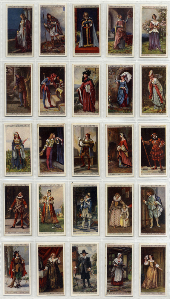 Wills 1929 English Period Costumes, complete set of 50, Cat. £45