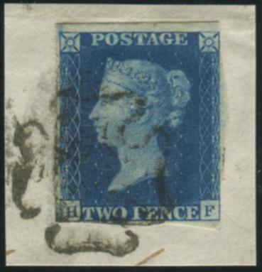 1840 2d Blue - Plate 2 HF