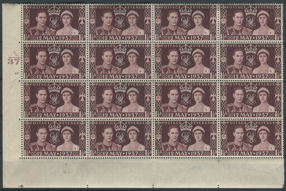 1937 Coronation Cylinder block of sixteen incl. flaws