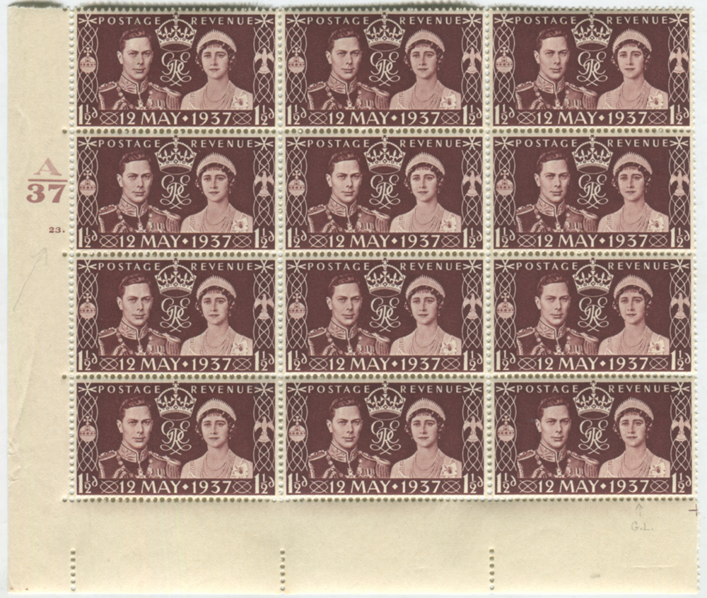 1937 Coronation Cylinder block of twelve incl. flaws