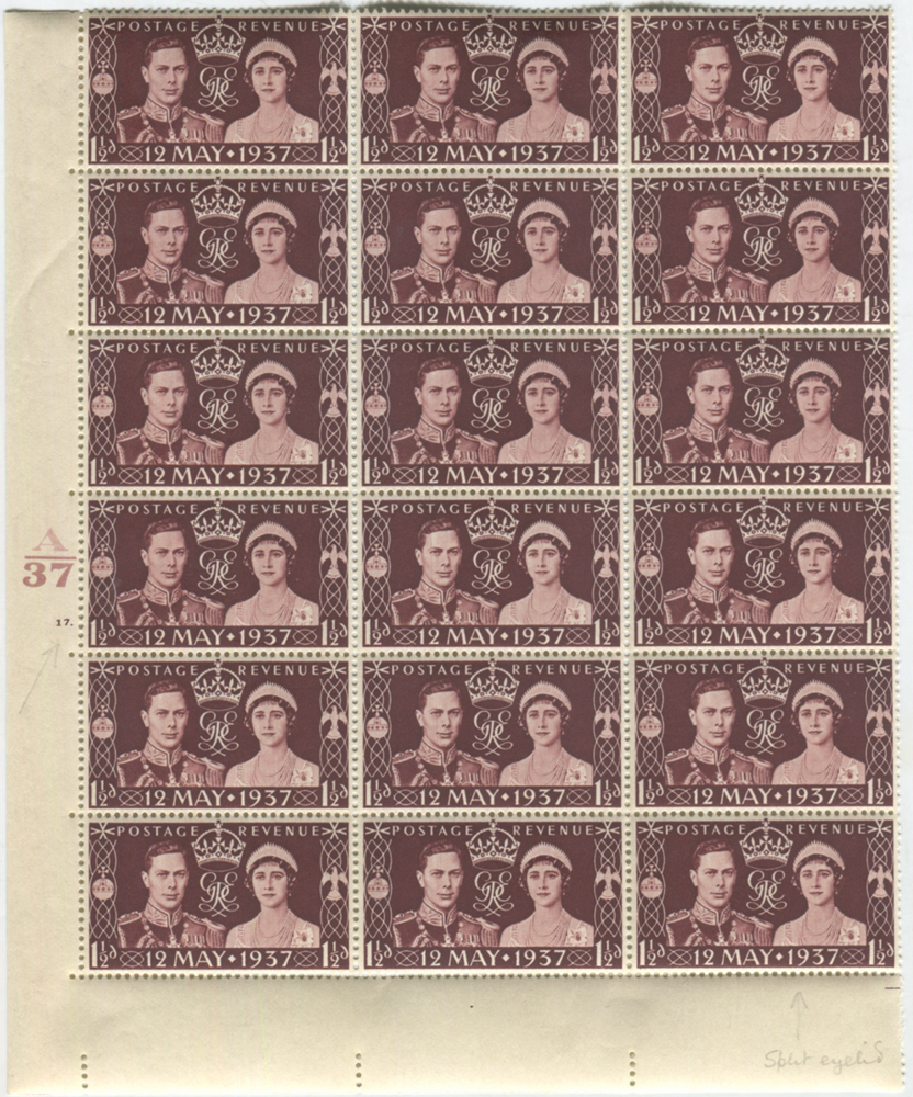 1937 Coronation Cylinder block of eighteen incl. flaws