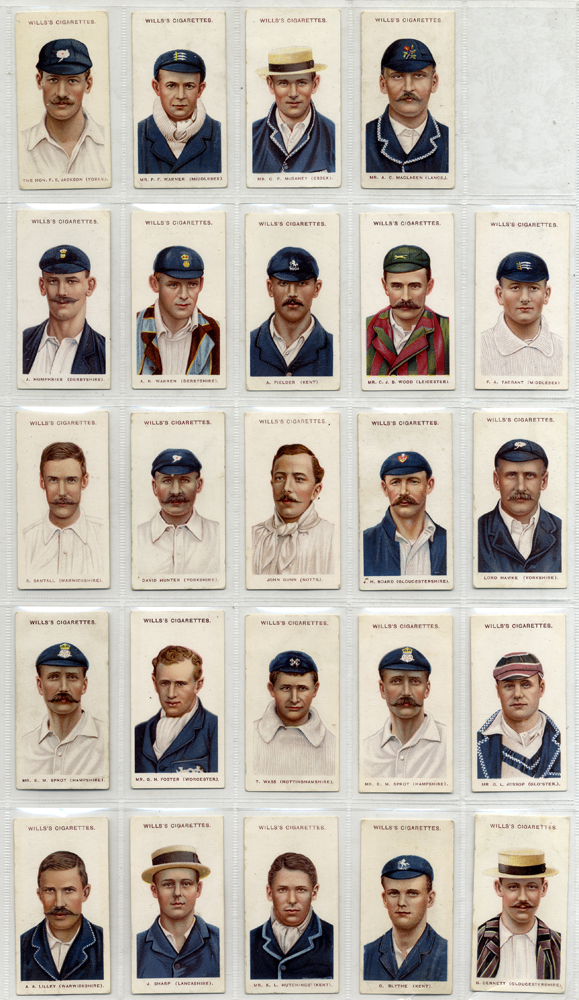 Wills 1908 Cricketers (large 'S'), 24 out of 25 cards, Cat. £216