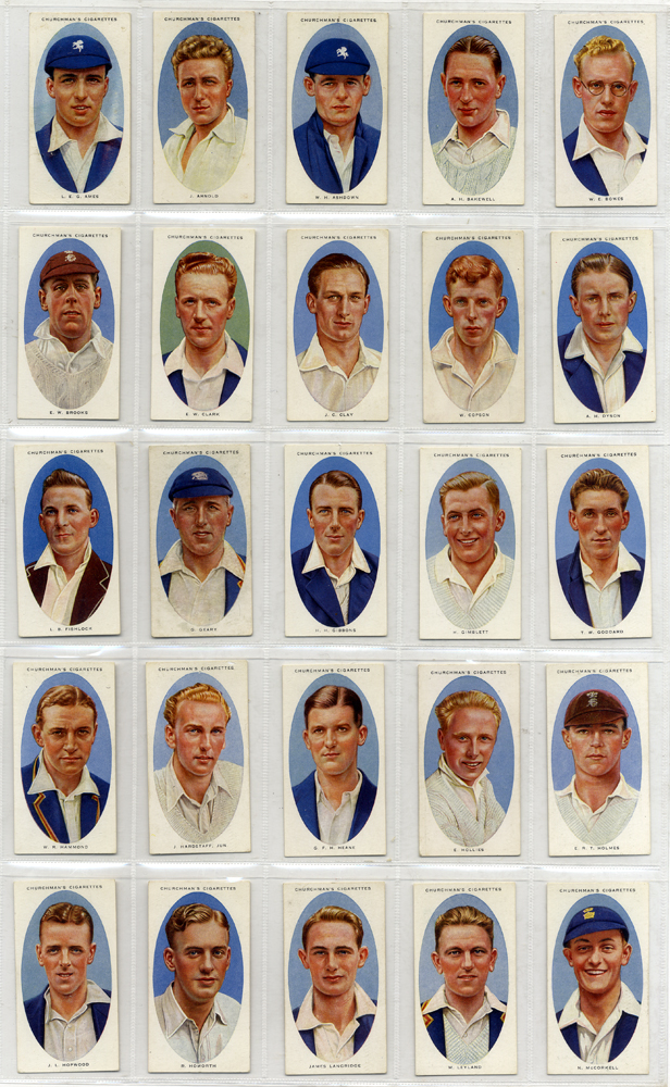 Churchman 1936 Cricketers, complete set of 50, Cat. £160