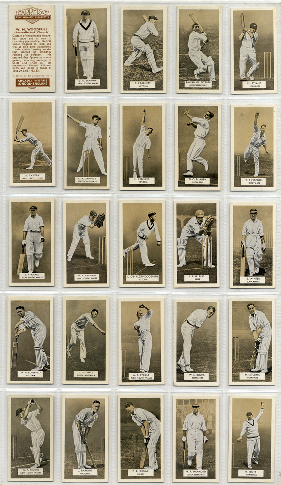 Carreras 1934 A series of Cricketers, complete set of 50, Cat. £170
