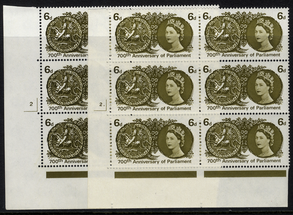 1965 700th Anniv of Parliament 6d Cylinder blocks of six