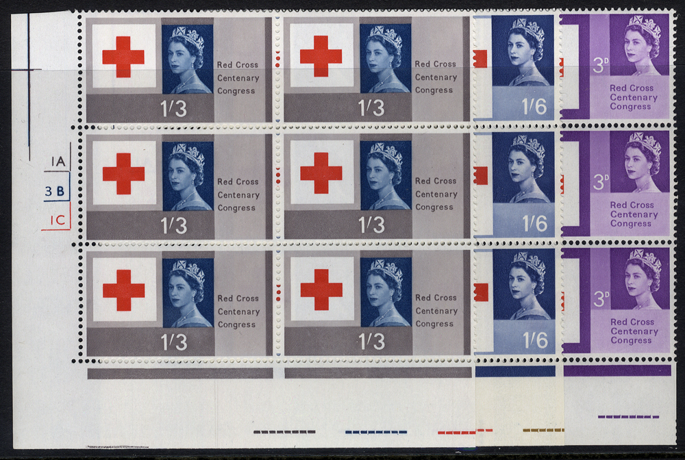 1963 Red Cross set in UM Cylinder blocks of six, SG.642/4, Cat. £50