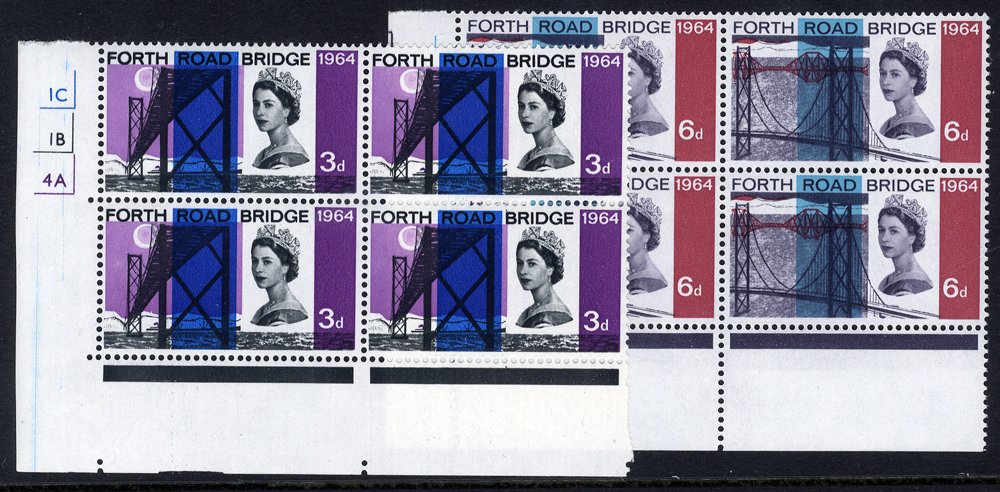 1964 Forth Road Bridge 3d & 6d Cylinder blocks of four