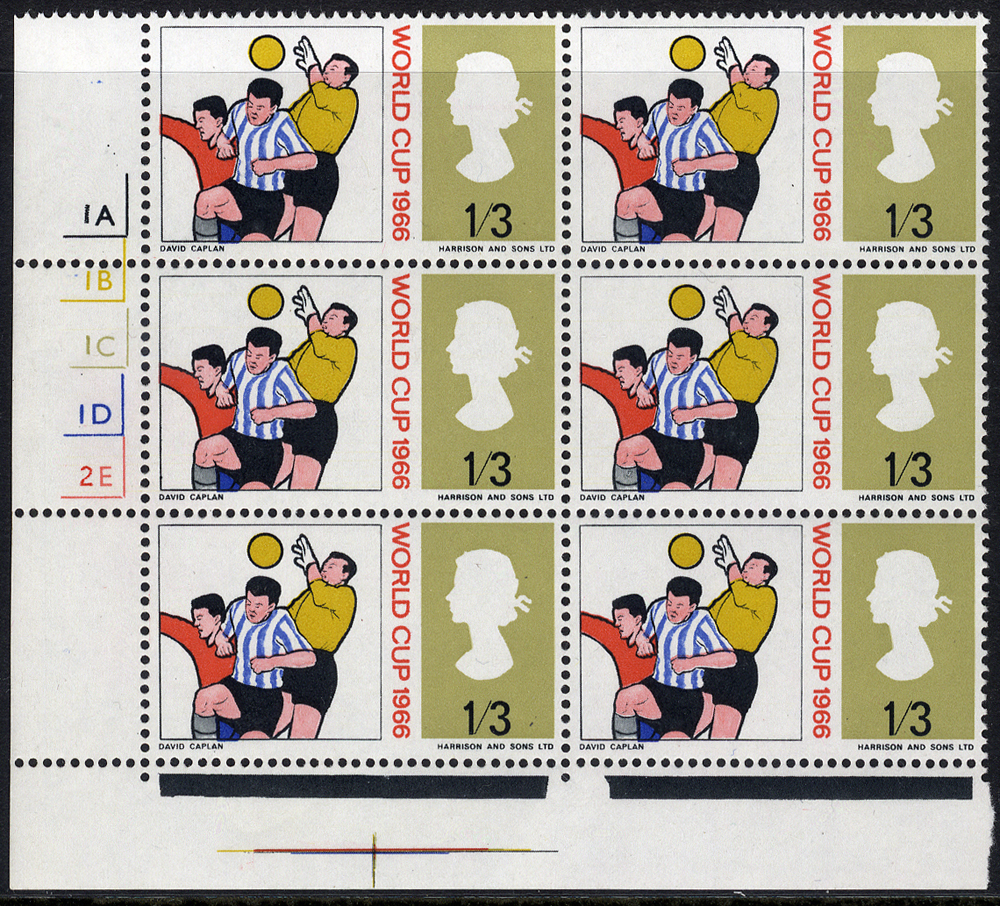 1966 World Cup 1/3d (Cyl No Dot) UM block of six incl. variety