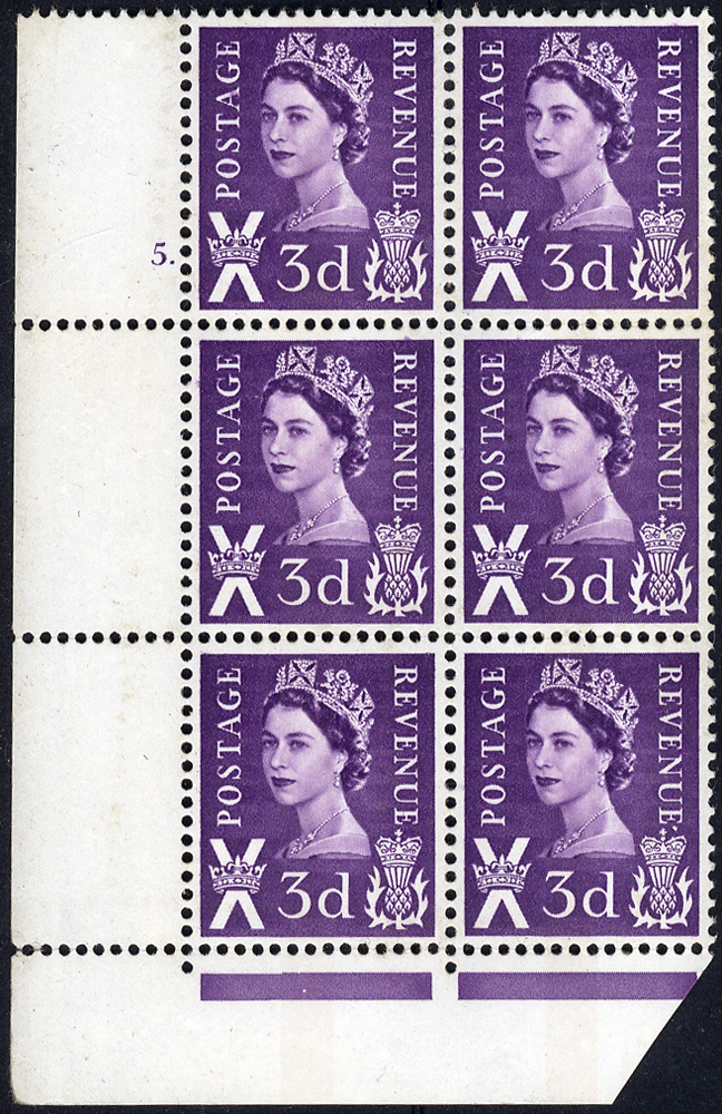 1968 3d No Wmk chalky paper - Cylinder block of six