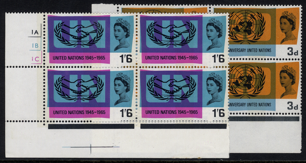 1965 UN Phosphor set in UM Cylinder blocks of four incl. minor flaw