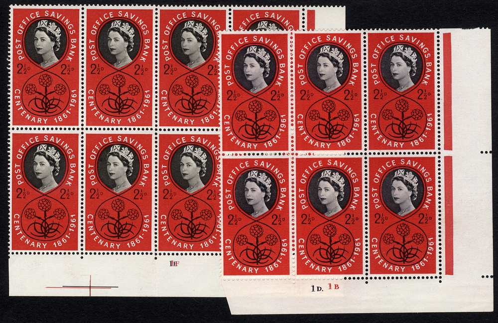1961 P.O.S.B 2½d Timson Printing Cylinder block of eight