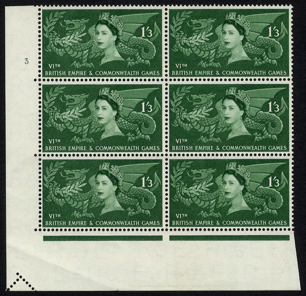 1958 Commonwealth Games 1/3d Cylinder block of six