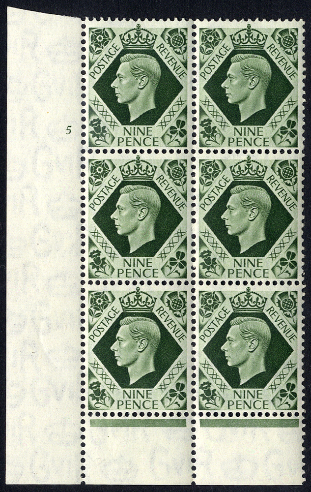 1939 9d deep olive green Cylinder block of six