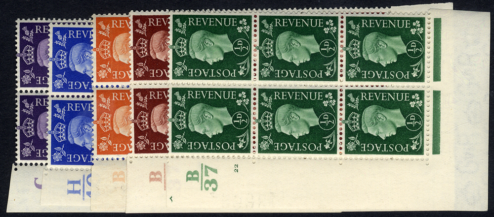 1937 KGVI Dark Cols Defin Cylinder blocks of six