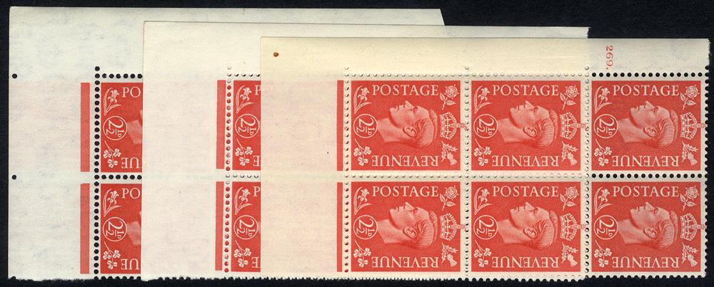 1951 2½d pale scarlet UM Cylinder blocks of six