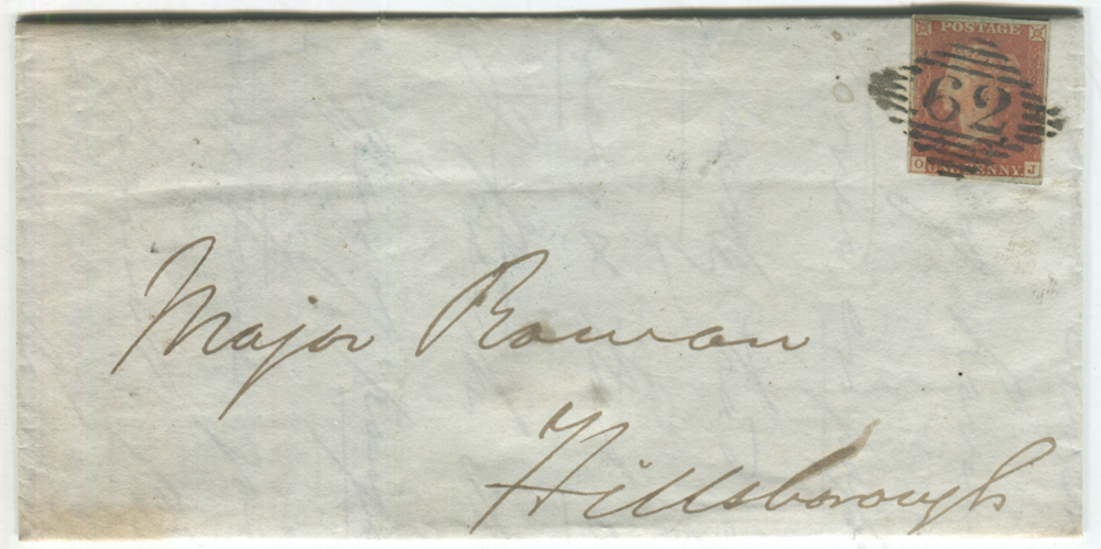 1844 cover from Belfast to Hillsborough - franked 1841 1d red lett OJ