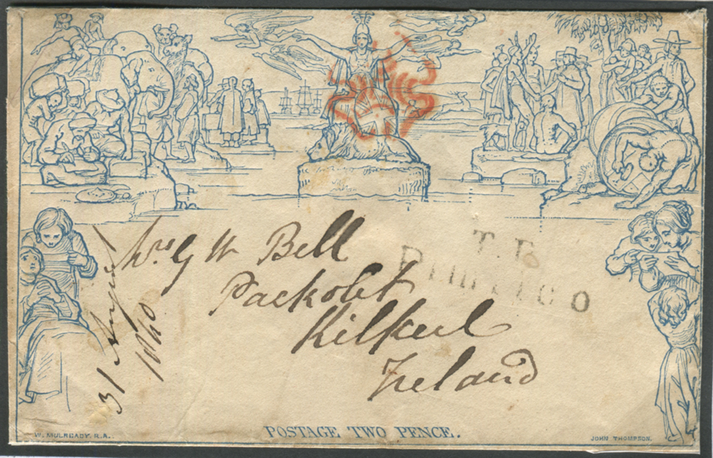 Mulready - 1840 Twopenny Envelope Stereo a201, cancelled by red Maltese Cross