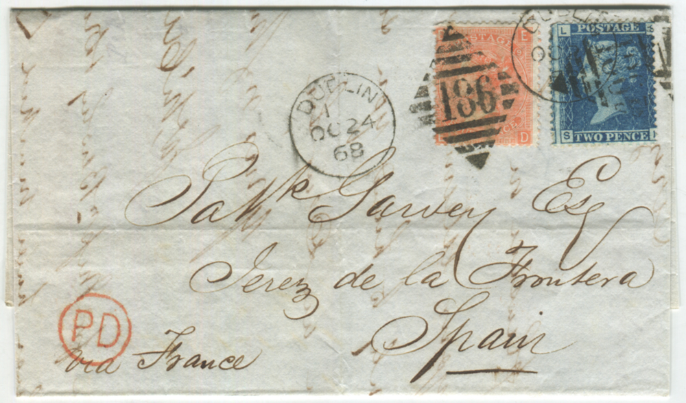 1868 cover from Dublin to Spain - 2d blue Plate 9 & 4d vermilion Plate 9