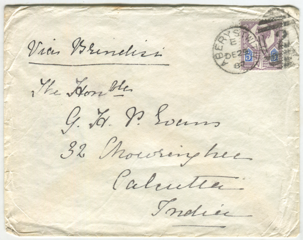 1887 cover from Aberystwith to Calcutta - 5d Die I (SG.207) Jubilee