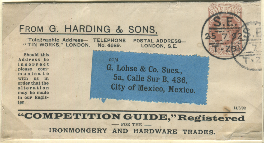 1892 Stamped to Order ½d wrapper London to City of Mexico
