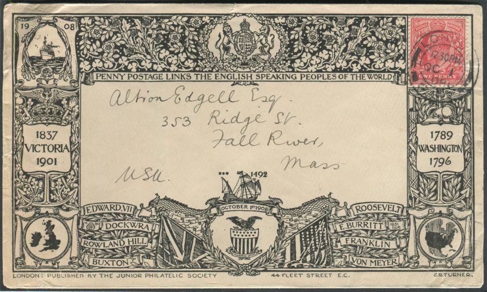 1908 Oct 1st Junior Philatelic Society illustrated envelope