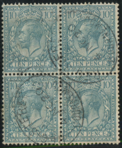 1912 10d turquoise blue, VFU block of four