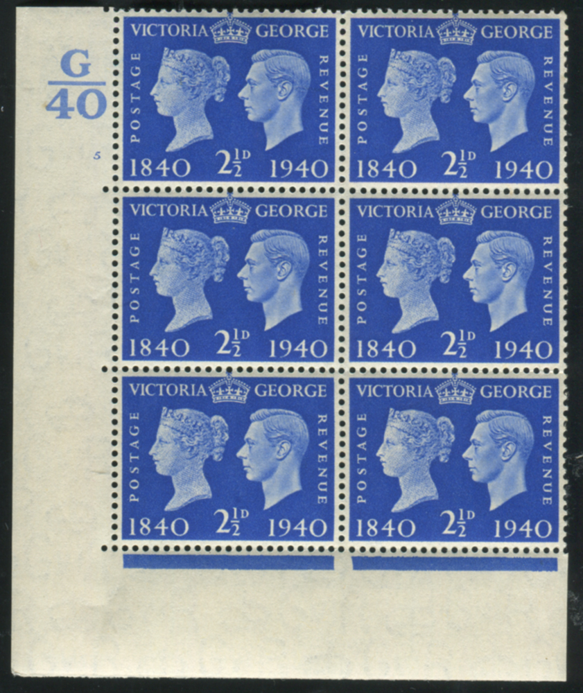 1940 Centenary 2½d UM Control block of six with variety
