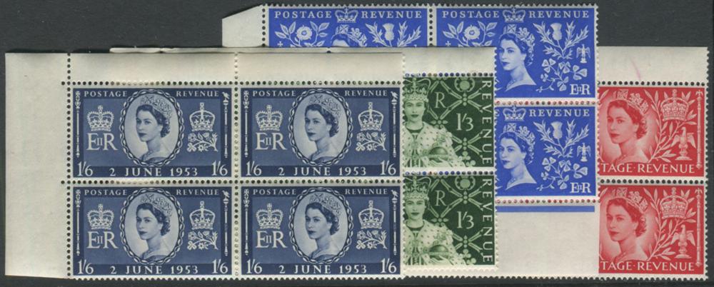 1953 Coronation set - UM corner marginal blocks of four