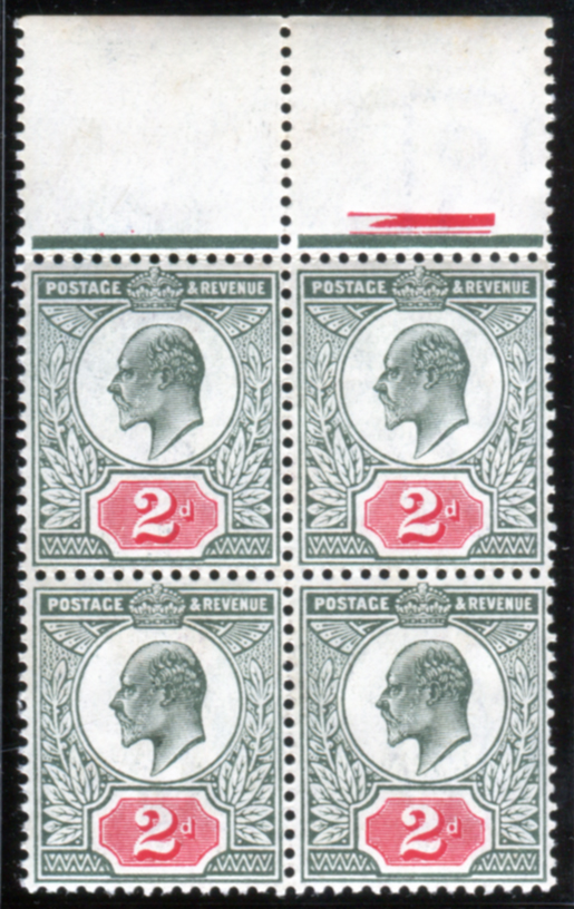 1907 DLR 2d dull blue-green & carmine red - UM block of four
