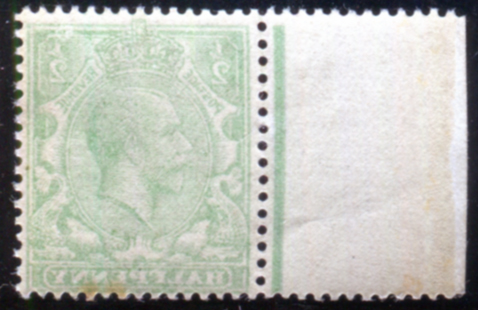 1912 Royal Cypher ½d green, reverse - complete offset