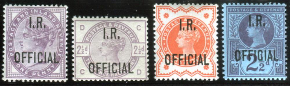 I.R OFFICIAL 1882 1d lilac, 1885 2½d lilac, 1887 ½d & 2½d