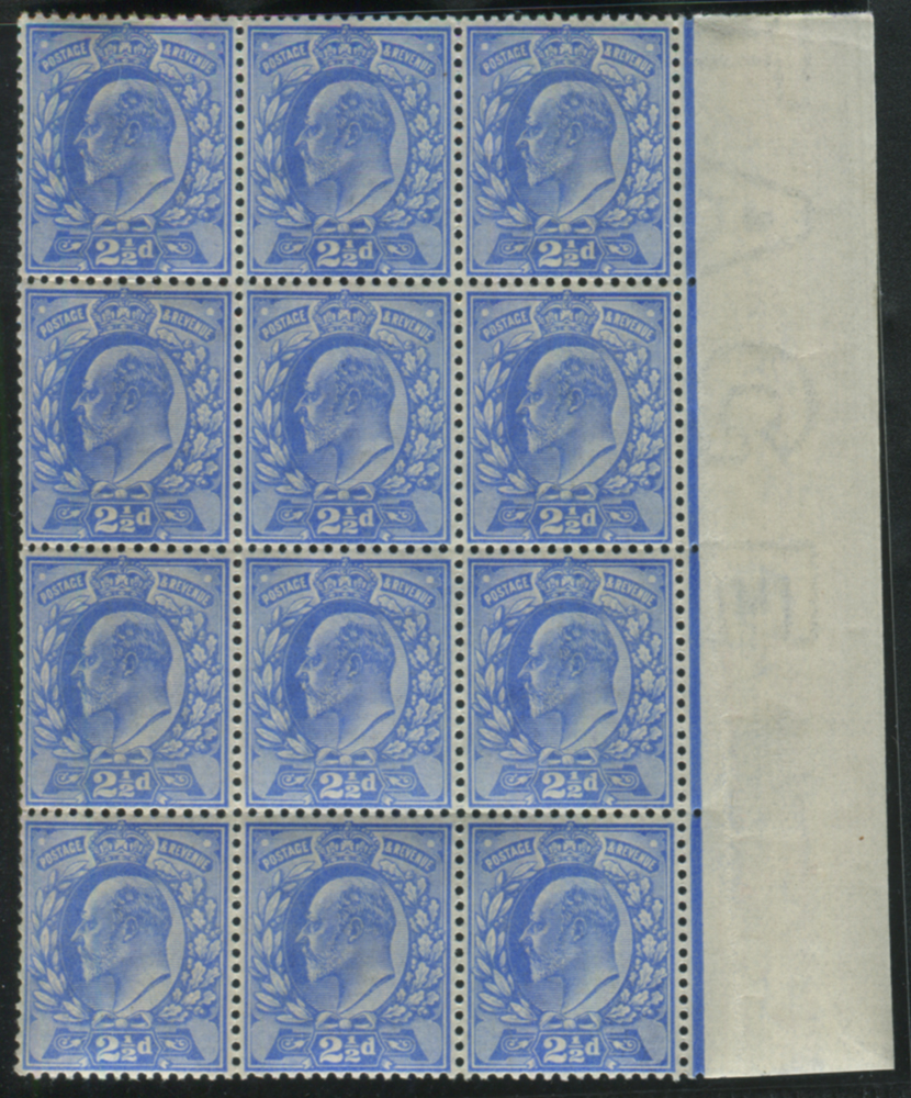 1902 DLR 2½d pale ultramarine - UM block of twelve