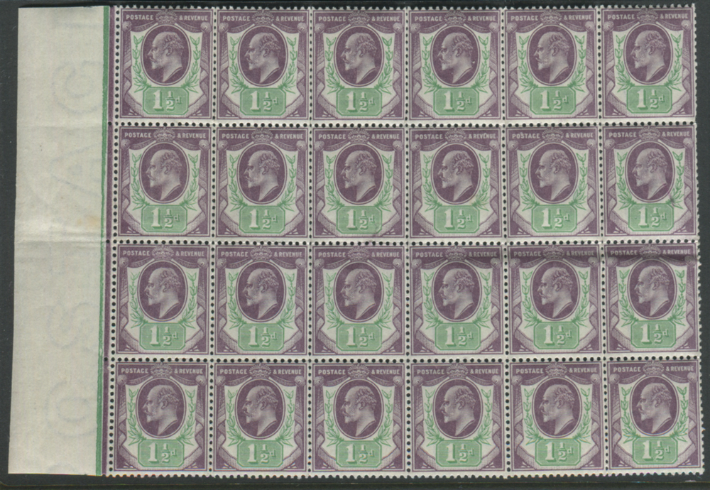 1902 DLR 1½d slate purple & green - UM block of 24