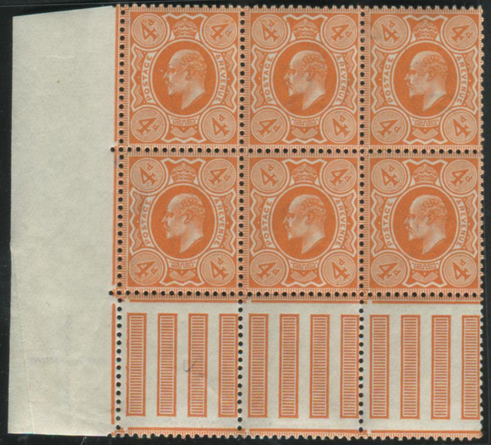 1909 DLR 4d pale orange - UM block of six with interpanneau margin