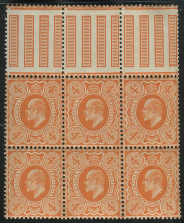 1909 DLR 4d pale orange interpanneau marginal UM block of six