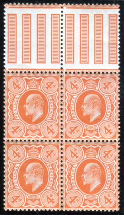 1909 DLR 4d orange-red interpanneau top marginal UM block of four