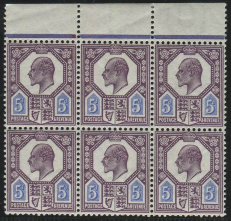 1911 Somerset House 5d deep reddish purple & bright blue - UM block of six