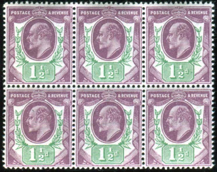 1912 Somerset House 1½d slate purple & green UM block of six