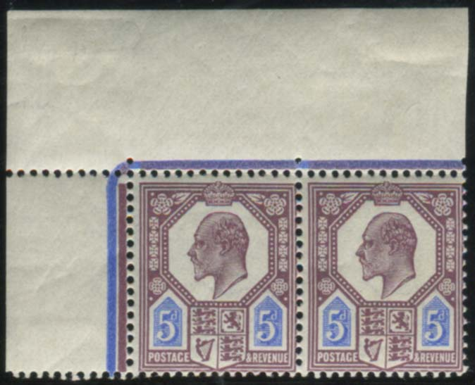 1911 Somerset House 5d dull reddish purple & bright blue - UM marginal pair