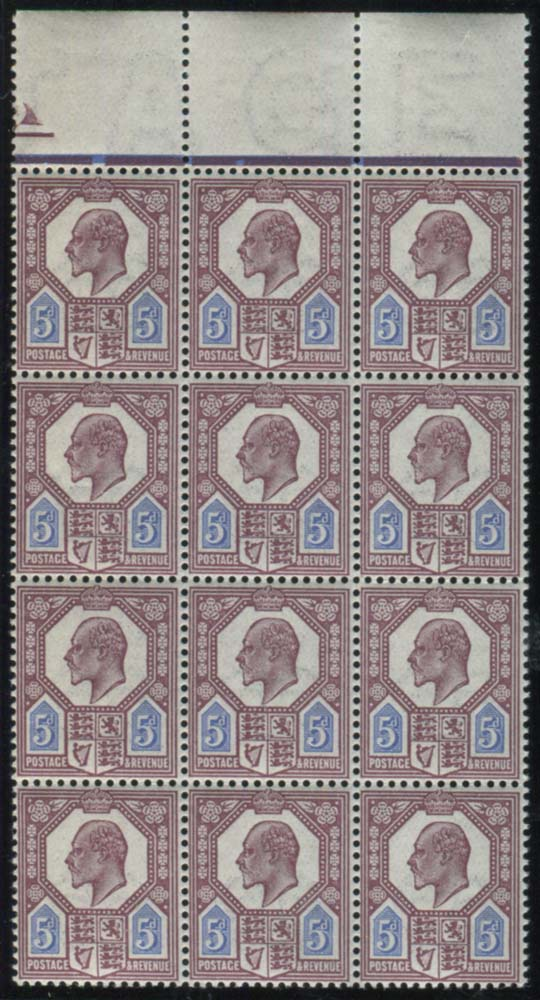 1911 Somerset House 5d dull reddish purple & bright blue - UM block of twelve