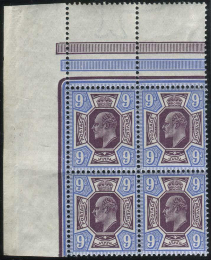 1913 Somerset House 9d deep plum & blue - UM block of four with interpanneau margin