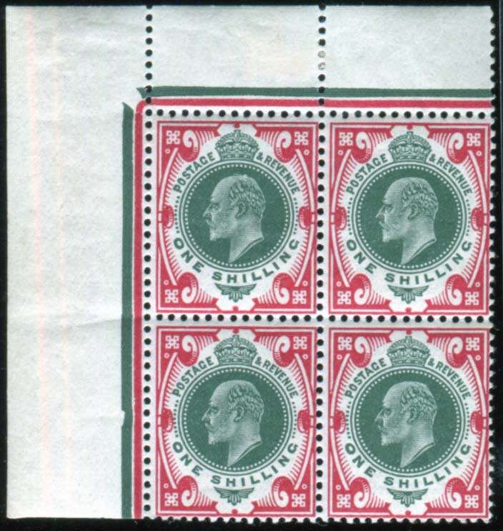 1912 Somerset House 1s dark green & scarlet - M block of four