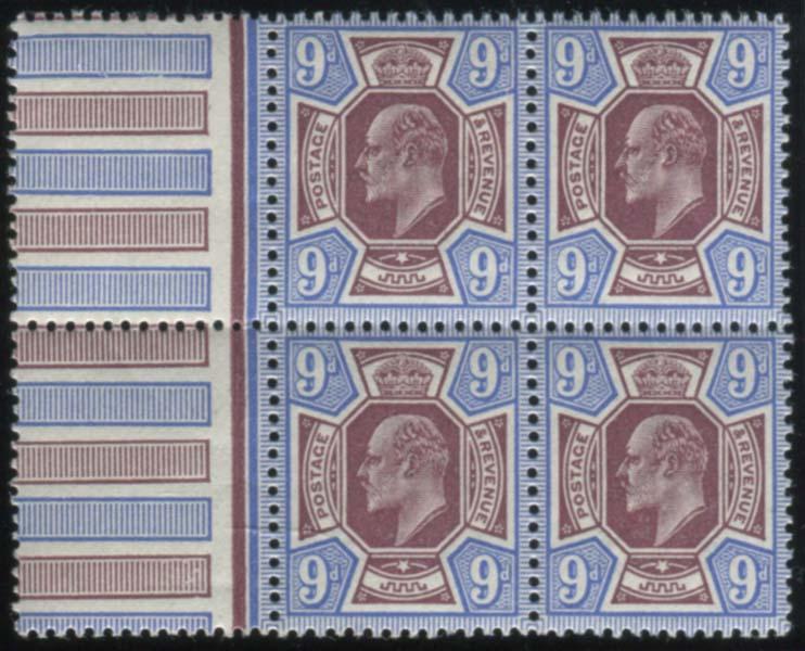 1911 Somerset House 9d dull reddish purple & blue - UM block of four with interpanneau margin