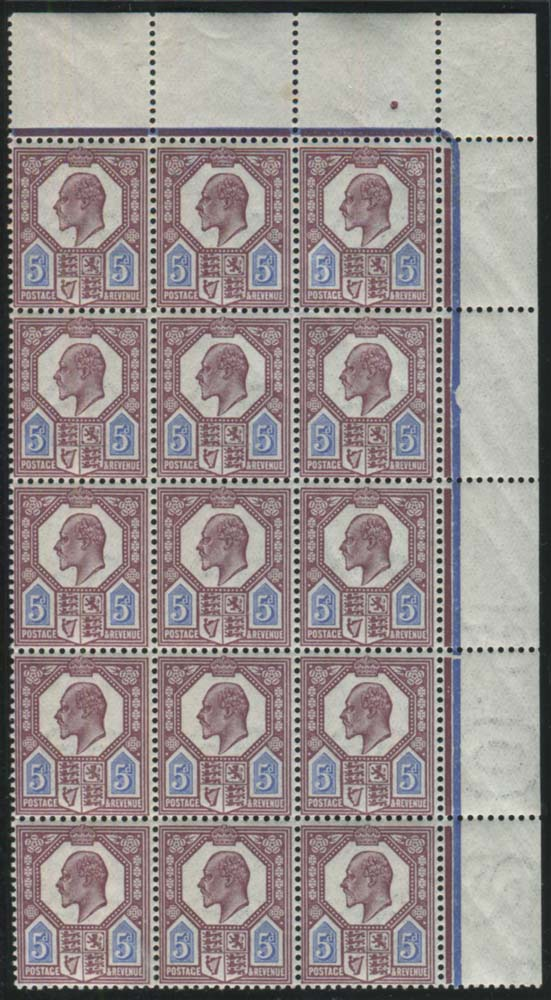1911 Somerset House 5d deep reddish purple & bright blue - UM block of fifteen