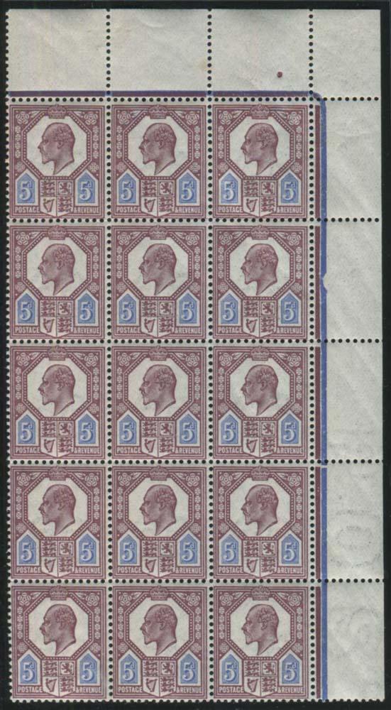 1911 Somerset House 5d deep reddish purple & bright blue - UM block of fifteen