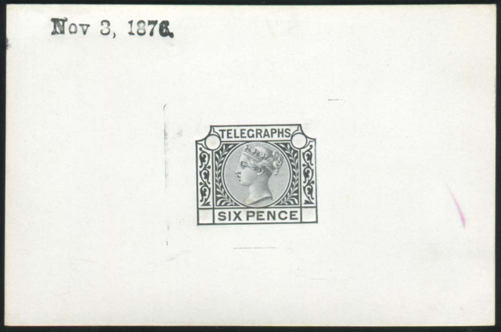 1876 Die Proof of 6d value in black on white glazed card