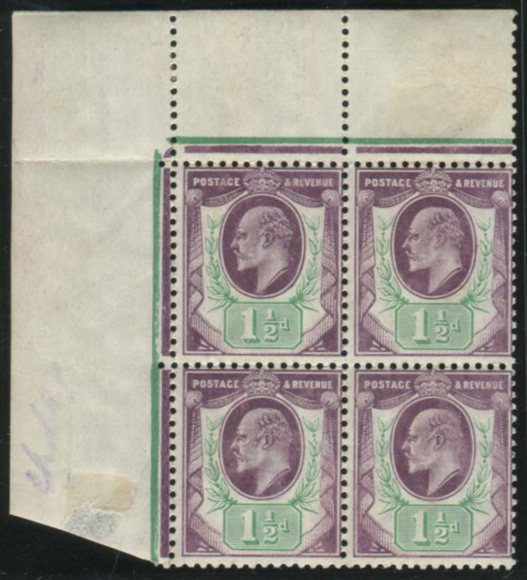 1905 DLR 1½d pale dull purple & green (chalky paper) UM block of four