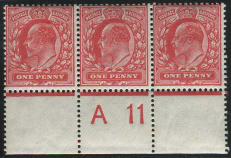 1911 Harrison P.14 1d rose red - Control strip of three